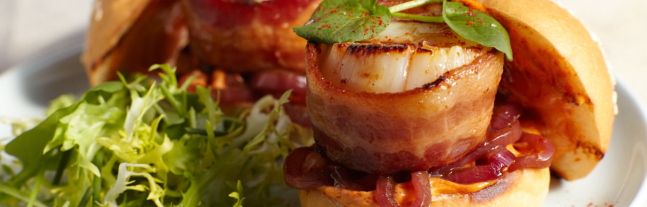 Bacon wrapped scallop sliders- seafood appetizer